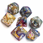 Carousel & White Festive Polyhedral 7 Dice Set